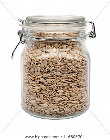 Sunflower Seeds In A Glass Canister