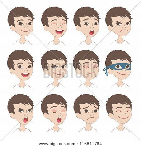 Cartoon boys's emotions and expressions set.