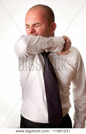 Man Coughing/Sneezing into Elbow