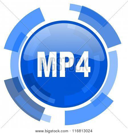mp4 blue glossy circle modern web icon