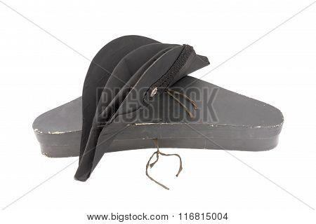 German ministerial cocked hat witn box. Black. 19 century. German