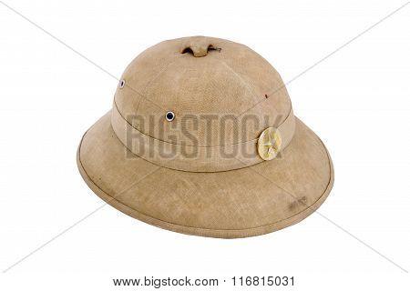 Tropical cork helmet of North Vietnam army. Period of American-Vietnam conflict. (1965-1973) poster