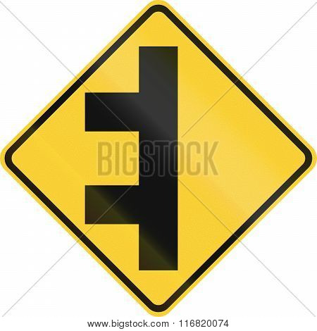 United States MUTCD warning road sign - Multiple intersections. poster