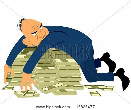 Greedy Businessman With A Bunch Of Money