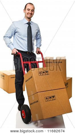 Smiling Man With Handtruck