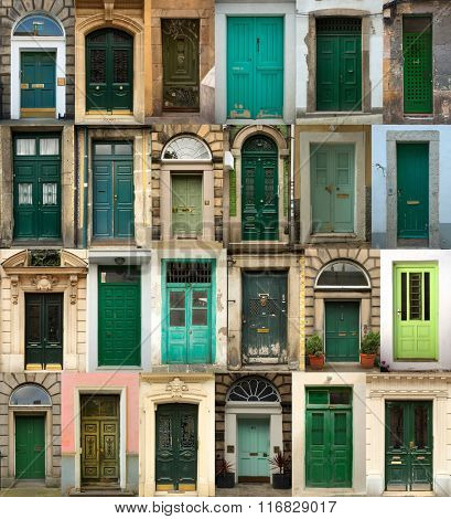 A collage of green doors from everywhere in the world