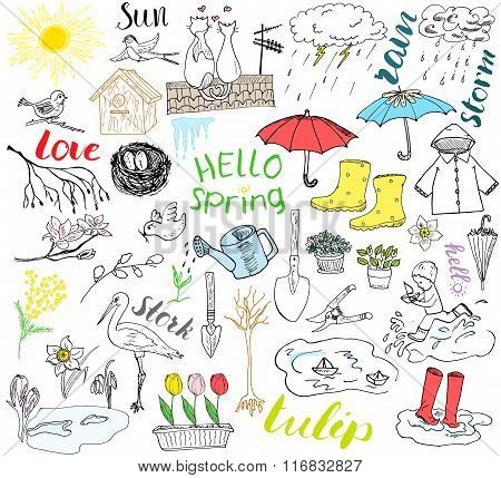 Spring Season Set Doodles Elements. Hand Drawn Sketch Set With Umbrella, Rain, Rubber Boots, Raincoa