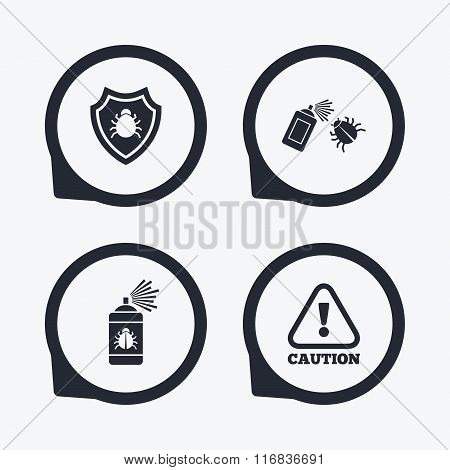 Bug disinfection icons. Caution attention and shield symbols. Insect fumigation spray sign. Flat icon pointers. poster