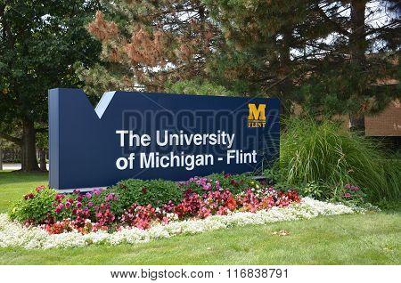 University Of Michigan Flint Sign