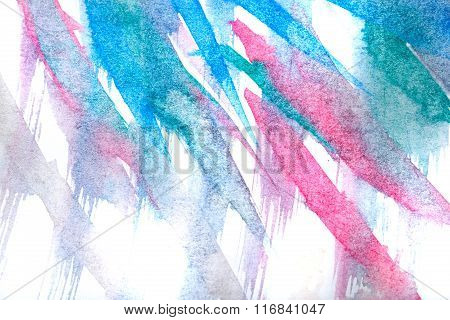 Watercolor Paint Abstract. Blue Red.