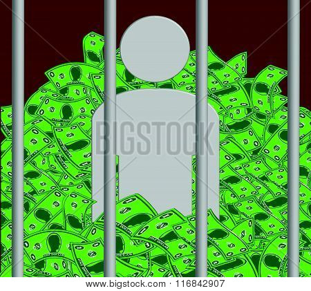 Prisoner of Conscience Conceptual Illustration. Image shows a guilt-stricken prisoner waist-deep with the money he stole