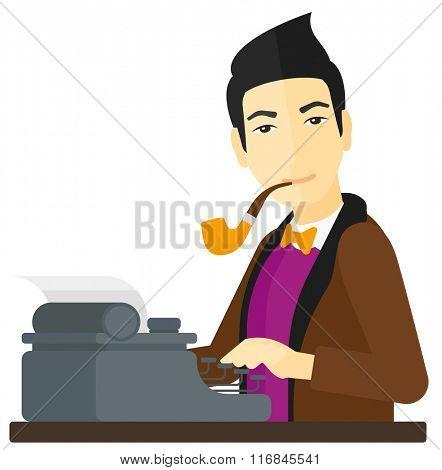 Reporter working at typewriter.