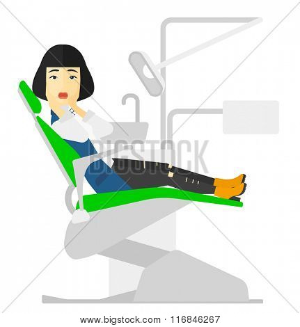 Frightened patient in dental chair.
