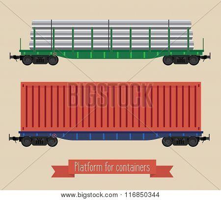 The Flat Illustration Railcars