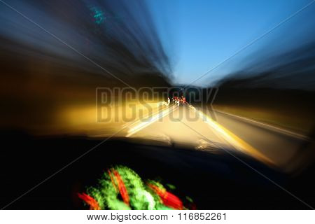 Blurry Vision Of Dashboard And Road For  Drunk, Tired Or Speeding Driver
