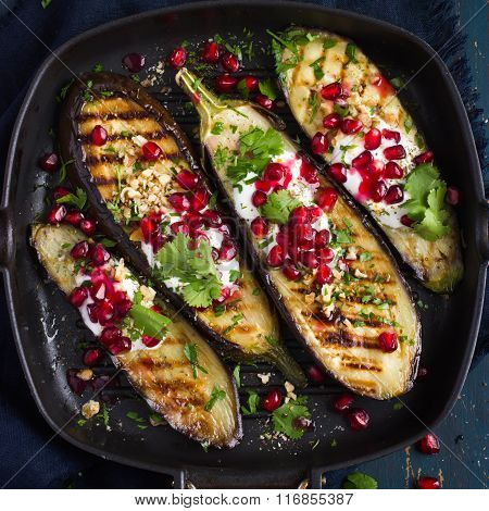 Grilled Eggplants With Garlic Yogurt Sauce, Walnuts And Pomegranate,
