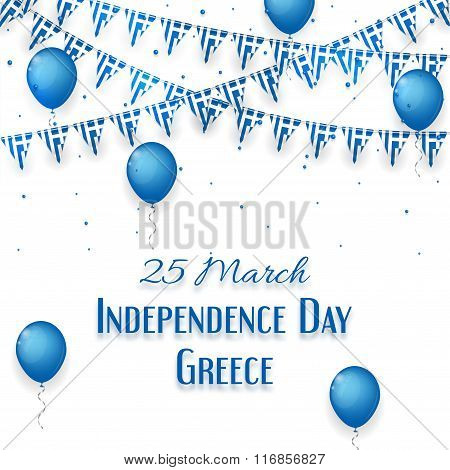 Background With Balloons And With A Garland From Greece Flags