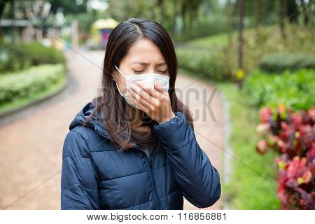 Asian Woman wear facemask outdoor