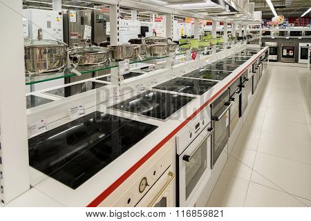 Moscow Russia - February 02. 2016. Electric cookers in Eldorado is large chain stores selling electronics
