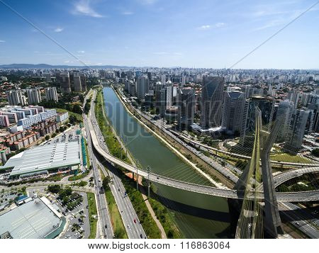 Aerial view of the most famous bridge in the city of Sao Paulo, Brazil