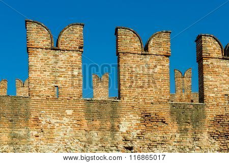 Battlements In Castelvecchio Of Verona
