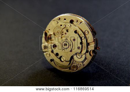 Picture of a Close up of wrist watch mechanism. Technology Theme