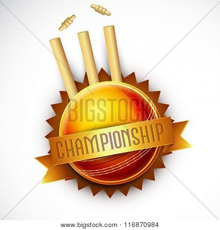 Creative Badge design with illustration of glossy ball and wicket stumps for Cricket Championship concept.