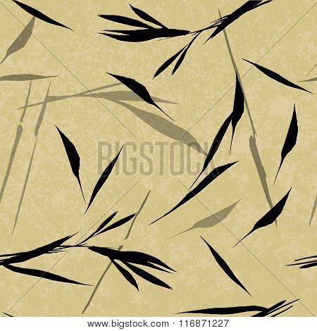 Vector Seamless Pattern. Black Hand Drawn Bamboo Leaves On A Beige Background. Asian Sumi-e Style.