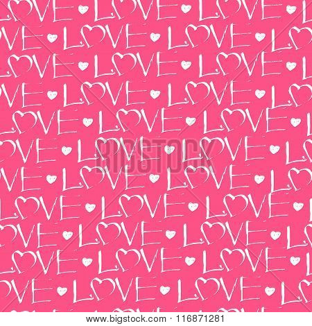 Vector Seamless Pattern. White Hand Drawn Lettering Love And Heart Symbols On A Pink Background. Pat