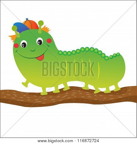 Green Caterpillar Cartoon. Vector Illustration On A White Background. Green Caterpillar Toy. Green Caterpillar Hat. Green Caterpillar Insect. Green Caterpillar Costume. Nice Green Caterpillar.