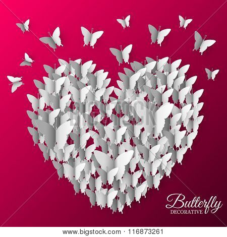 beautiful colorful butterfly heart on valintines day background concept. Vector illustration design.