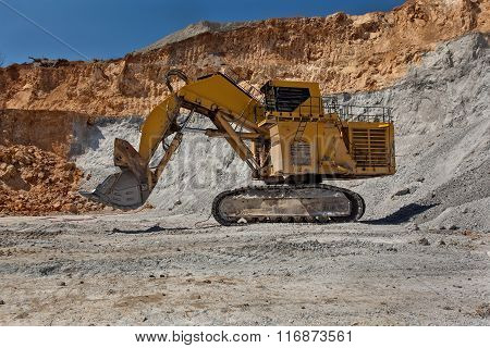 Large Excavator At Open Pit