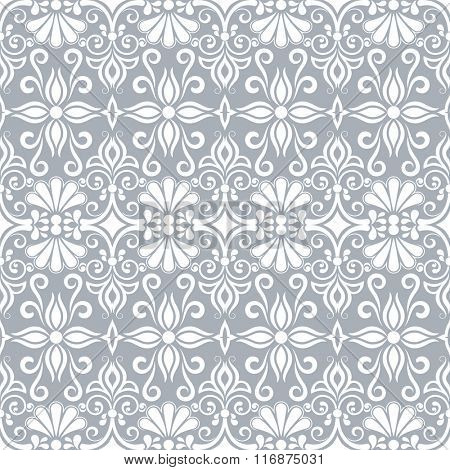 Seamless white and grey floral vector wallpaper pattern.