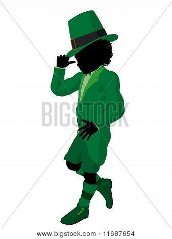 African American Leprechaun Gril Illustration Silhouette