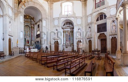 Obidos, Portugal - August, 2015: Sanctuary of Senhor do Jesus da Pedra. Interior of the church. Baroque architecture.