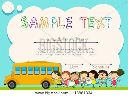 Certificate design with children and schoolbus illustration