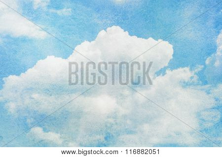 Blue watercolor cloud and sky.