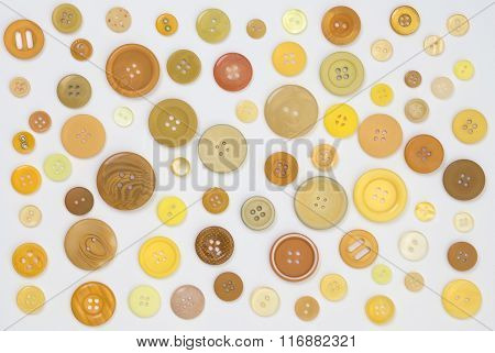 Collection Of Yellow Designer Buttons On White Background