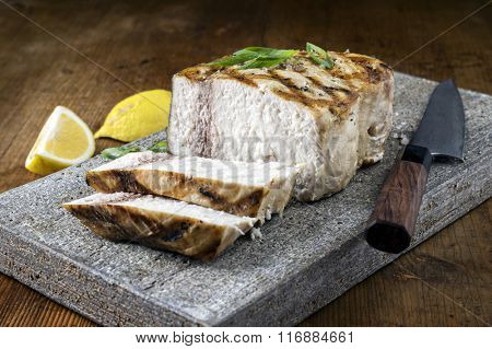 Barbecue Swordfish on Flagstone