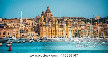 postcard with view on Birgu coast from the sea in Malta