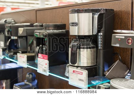 Moscow Russia - February 02. 2016. coffee machine in Eldorado. It is large chain stores selling electronics