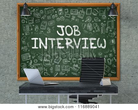 Hand Drawn Job Interview on Office Chalkboard.