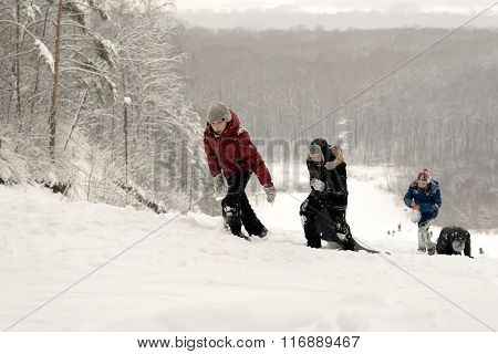 Russian Teenagers Wild Snow Slide Winter Ride Downhill