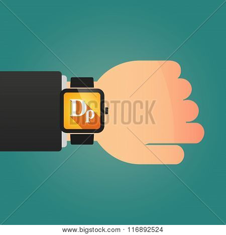 Man Showing A Smart Watch With A Drachma Currency Sign