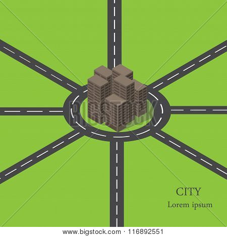 Vector isometric city ring road. Many roads around the city.