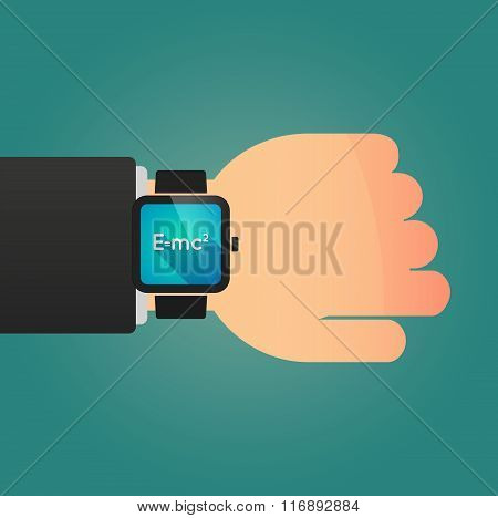 Man Showing A Smart Watch With The Theory Of Relativity Formula