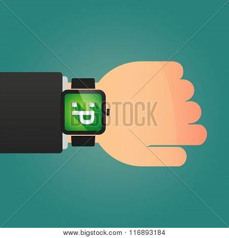 Man Showing A Smart Watch With A Emotionless Text Face