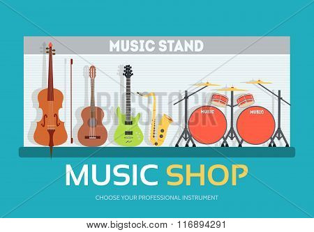Music shop in flat design background concept.  Stand with musical instruments collection set. Icons