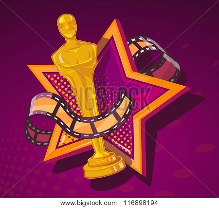Vector Illustration Of Yellow Cinema Award With Big Star And Film Reel On Dark Red Background.