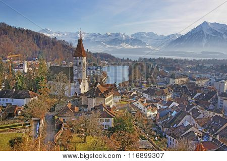 Panorama Of Thun Church And Town With Thunersee And Alps